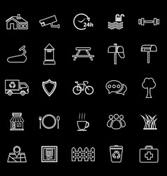Village line icons on black background vector