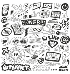 Web Internet computers doodles vector image vector image