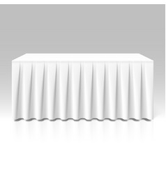 White pleated table-skirting vector image
