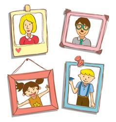 Cute frame with family photo vector