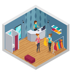 Colored trying shop isometric interior vector