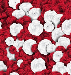 Seamless red white rose background vector
