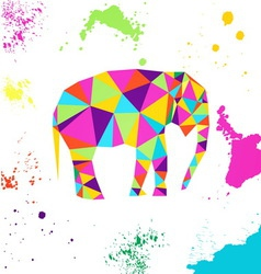 Elephant in geometric origami style vector