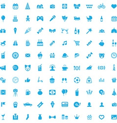 100 birthday icons vector