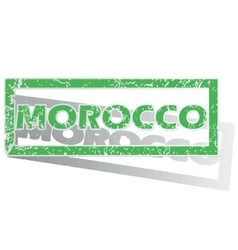 Green outlined morocco stamp vector