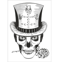 Man in skull mask top hat with rose vector