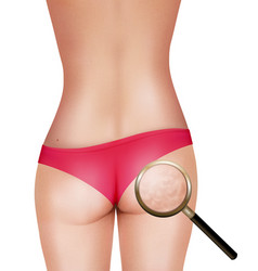 Female body with magnifying glass vector