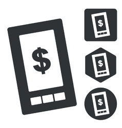 Dollar screen icon set monochrome vector