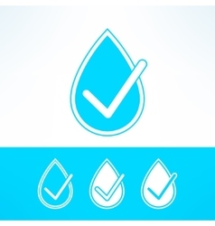 set of water drops with checkmark made in vector image