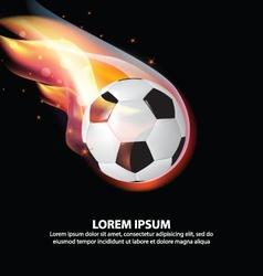 Isolated Soccer Ball or Football on fire flame vector image