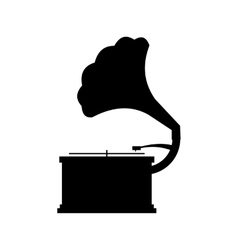 Gramophone black icon vector