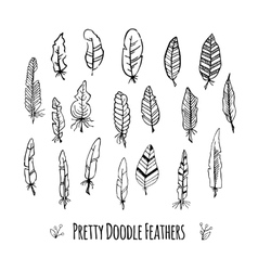 Set of hand-drawn stylized feathers doodle vector