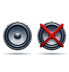 On off mode speakers vector image