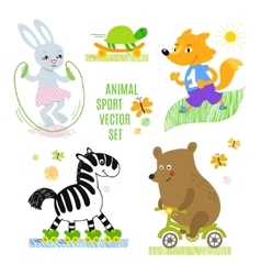 Animals sport set vector
