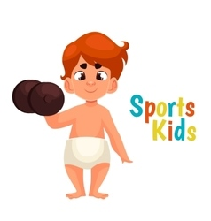 Baby in diapers with a dumbbell vector
