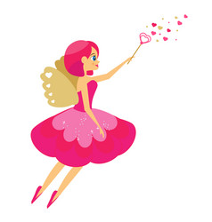 beautiful cupid girl spreading love dust winged vector image