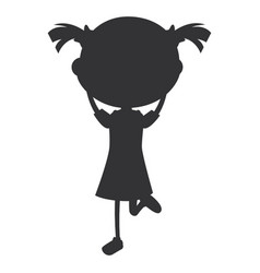 Beautiful little girl silhouette character vector