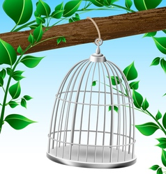 Bird cage on a tree branch vector image vector image