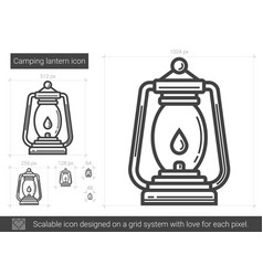 Camping lantern line icon vector