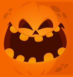 Cartoon jack lantern monster face vector