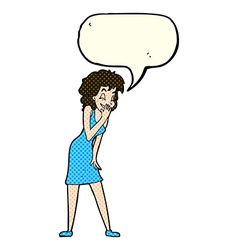 Cartoon woman laughing with speech bubble vector