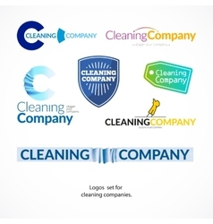 collection logo set for cleaning company vector image