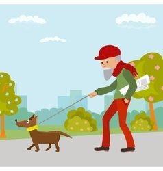 Elderly man walking with his dog in the park vector image vector image