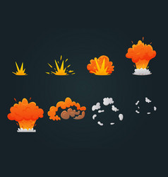 explosion animation icon set vector image vector image