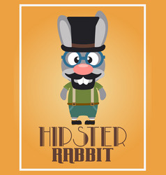 Funny hipster rabbit vector