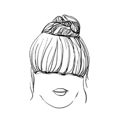 Girl with messy bun vector image vector image