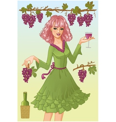 Girl with wine vector