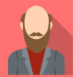 Gray beard icon flat single avatarpeaople icon vector