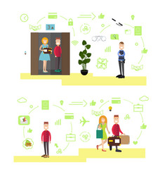 Hotel people in flat style vector