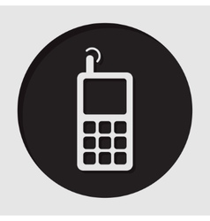 information icon - old mobile phone with antenna vector image