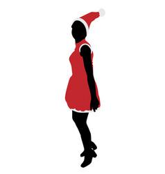 joyful santa girl jumps vector image vector image