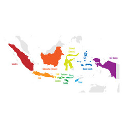 Main islands of indonesia map with names vector