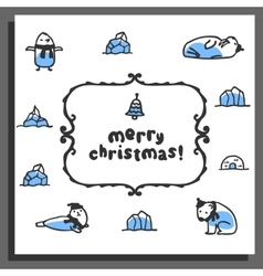 Merry chrismas card with cute doodle walrus seal vector