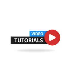 online video tutorials education button play vector image vector image