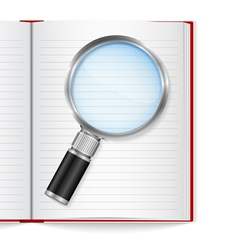 Open book with magnifying glass vector image vector image