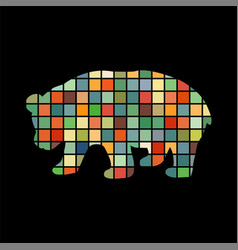 Panda bear mammal color silhouette animal vector