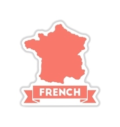 Paper sticker on white background map of france vector