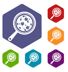 Pizza with ingredients on board icons set hexagon vector