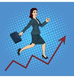 Pop art businesswoman climbing up the career vector