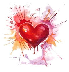 Red watercolor heart on the white background vector image