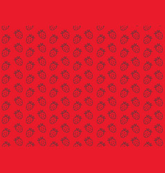 Seamless strawberry pattern on red background vector