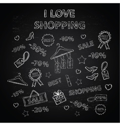 Shopping set with thematic elements on a chalk vector