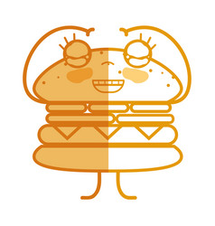 Silhouette kawaii cute happy humburger food vector