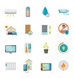 Smart House Flat Icons Set vector image