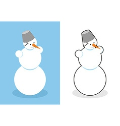 Snowman man made of snow for new year cute vector