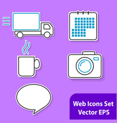 the set of outline icons with white background for vector image vector image